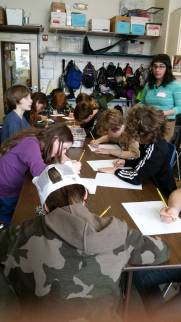 "Class working on their ""zine"""